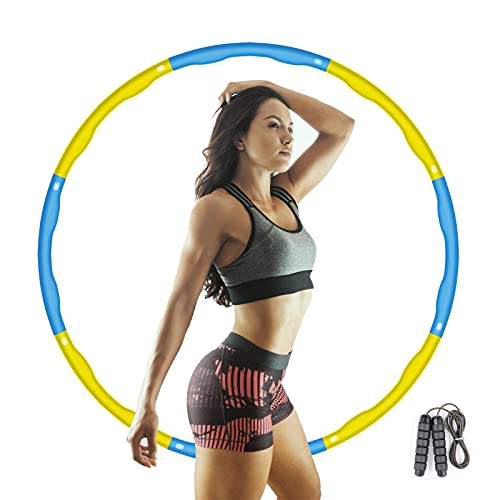 XKUN Entrenador de Abdominales Hula Hoop Hula bula Hula Hoop Ajustable ponderado Adulto Quemar Grasa Desmontable Aros de Fitness(Amarillo Azul)