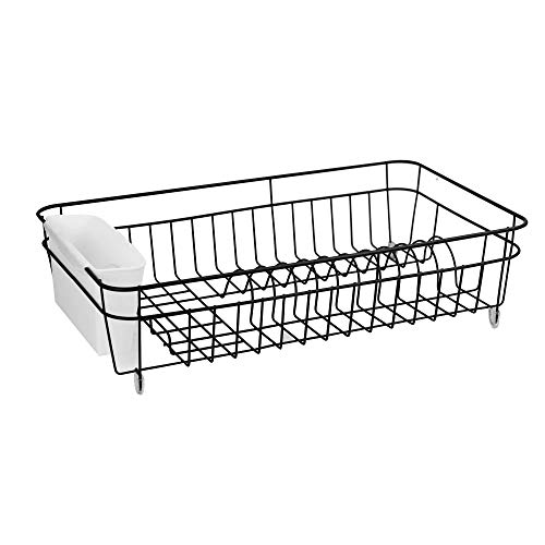 Dish Drainer   Rust Proof Drying Rack   Kitchen Utensils Organiser with Cutlery Basket   Plates & Mugs Dryer with Non-Slip Feet   M&W (Black)