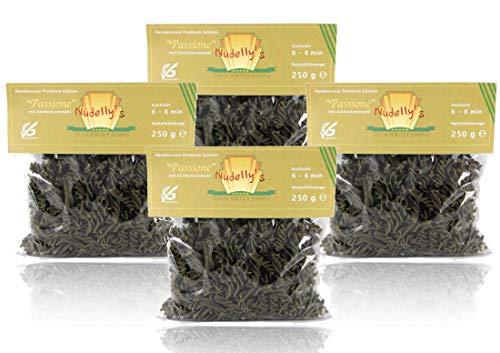 Nudelly's Quattro Passione, glutenfreie Pasta im 4er Pack, Kürbiskernmehl, Eier-Nudeln mit Tapioka-Stärke als Fusilli, low-carb, paleo, clean, sojafrei