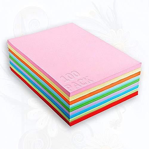 Buntpapier Farbigen A4 Kopierpapier Papier 100, bunte Blätter in 80g/m², 10 Farben für DIY Kunst Handwerk