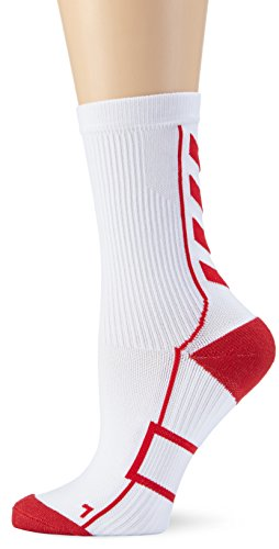 Hummel Sportsocken kurz Unisex mit Polsterung div. Farben - REFLECTOR TECH INDOOR SOCK LOW - Socken antibakteriell für Sport & Fitness - Strümpfe Mesh Belüftung, weiß (White/True Red), 14, 21-074-9402