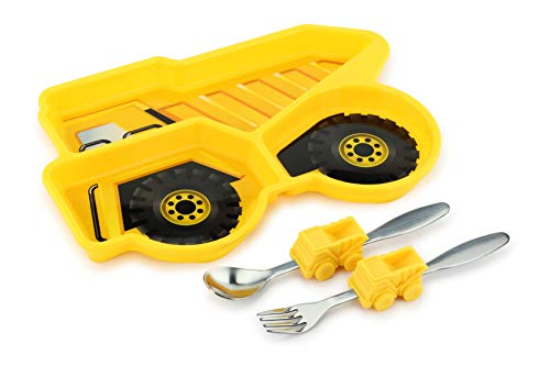 Kids Divided Plate with Utensils - Children's Meal Set with Plate, Fork and Spoon - Dump Truck