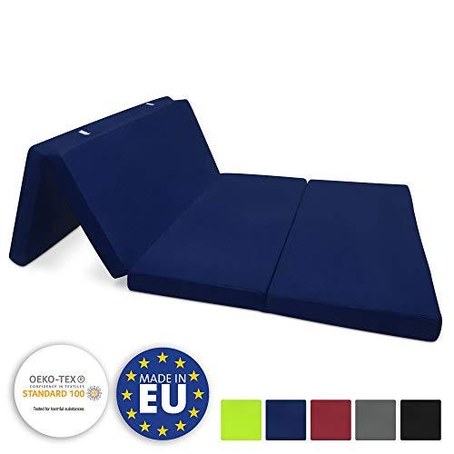 Beautissu Colchón Plegable Campix 120 x 195 x 7 cm - Cómodo y Ahorra Espacio - con Funda de Microfibra - Azul Marino