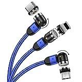 UGI Micro USB Câble de Chargeur Magnétique Android,1M/2M Nylon Tressé Rapide Charge 360 °+ 180...