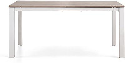 Italian Concept 197 Table Jake Maxi, métal laqué, Bois Fini, Marron, 160 x 80 x 75 cm