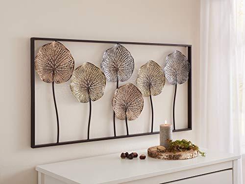 """3D Wandbild""""Lotus"""" aus Metall, 100x50 cm, Wandschmuck, Wanddeko, Wandverzierung, Deko-Objekt"""
