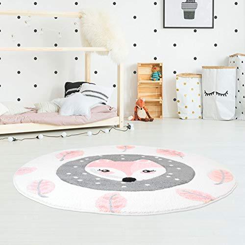 Kinderteppich Hochwertig Konturenschnitt, Glanzgarn mit Fuchs und Blättern in Rosa, Creme für Kinderzimmer Größe 120/120 cm Rund