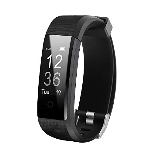 Fitness Tracker HR, Activity Tracker Watch with Heart Rate Monitor, Waterproof Smart Fitness Band with Step Counter, Calorie Counter, Pedometer Watch for Women and Men (Black)