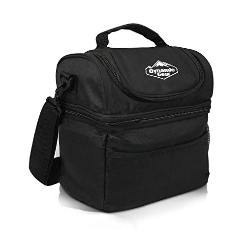 Dynamic Gear Refrigerated Lunch Box Tote Bag, Large, Adults/Men/Women, Insulated, Mesh Pockets, for Travel, Work, Picnic, Camping! (Black)