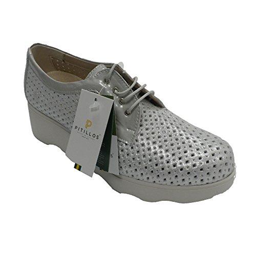 Zapato Deportivo Mujer Calado Cordones Plateado Pitillos