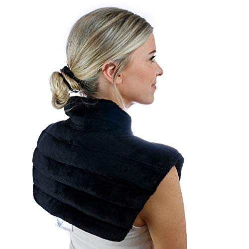 Huggaroo Microwavable Heating Pad for Neck and Shoulders - Unscented, Weighted, Black