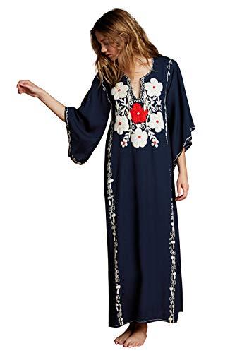 Vestido Largo de Playa Mujer Bohemia Kaftan Maxi Pareo de Algodn Verano Poncho Tuunic Etnico Foral Bikini Cover Up Sarong Traje de Bao Beachwear