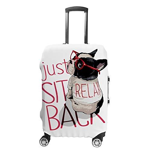 Funda para maleta de viaje CHEHONG con diseño de perro de dibujos animados rojos camiseta lavable a prueba de polvo cubierta de equipaje resistente al agua poliéster para 18 – 32 pulgadas