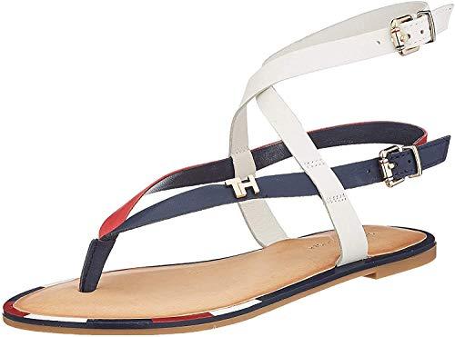 Tommy Hilfiger Feminine Elastic Flat Sandal, Infradito Donna, Rosso (RWB 0kp), 41 EU