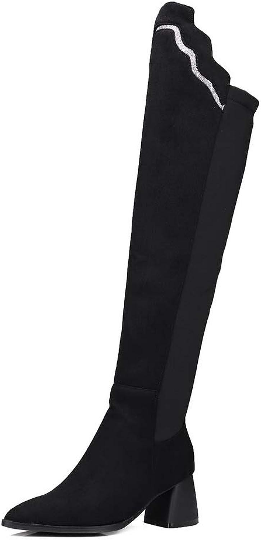 AdeeSu Womens Chunky Heels Pointed-Toe Imitated Suede Boots SXC03474