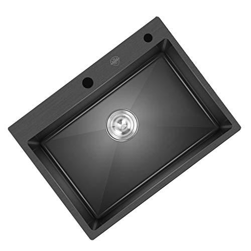 Fregadero De Acero Inoxidable Negro De 304 Nanómetros Fregadero Manual De Un Solo Baño Fregadero Belfast Nano Fregadero De Un Solo Baño Fregadero De Cocina (Color : Black, Size : 60 * 45cm)