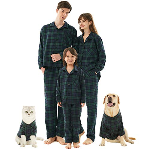 Family Christmas Pajamas Set for Pets, Buffalo Plaid Dogs Cats Pajamas Shirts Sleepwear Outfit Blanket Pjs Green XS