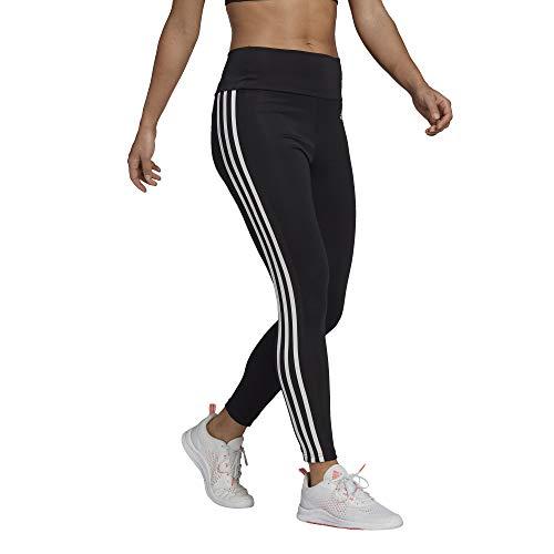 adidas womens High Rise 3-stripes 7/8 Tights Black/White Large