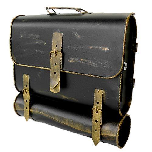 Briefkasten UNIKAT Antik-Look Schulranzen Design Schultasche mit Zeitungsrolle Gold/Bronze - Antik (Öffnung rechst)