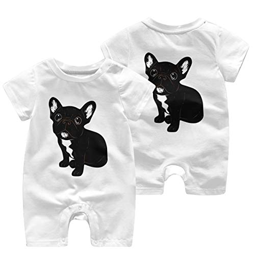 Mri-le1 Newborn Kids Coverall Cute Brindle Frenchie Puppy Baby Clothes White