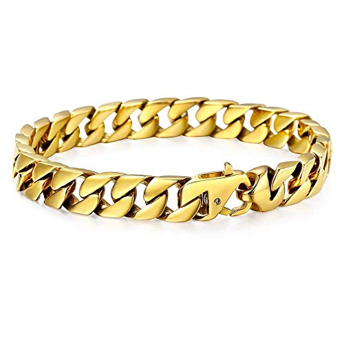 Trendsmax 10mm Mens Women Chain Gold Plated Stainless Steel Curb Cuban Link Chain Bracelet Hip Hop Jewelry 10inch