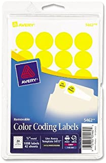 Avery Print/Write Self-Adhesive Removable Labels, 0.75 Inch Diameter, Yellow, 1,008 per Pack (5462)