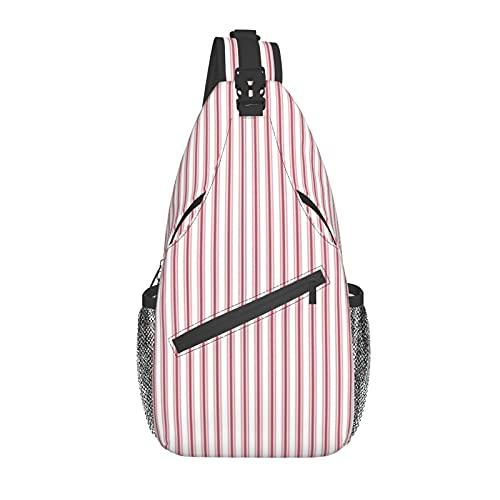 Unisex Sling Bag Daypack Busto Spalla Zaino Crossbody Pacchetto Materasso ticchettio stretto strisce bandiera USA rosso e bianco Per Viaggi Escursionismo Palestra Outdoor Abbigliamento quotidiano