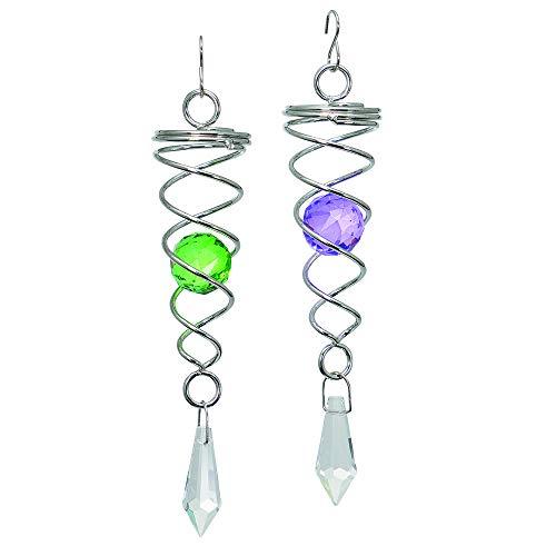 Spirales CIM - Little CRYSTAL TWISTER [2er-Set] - Dimensions : 3x16cm - inclus 2 billes colorées en verre à facettes, crochet de suspension et fil de nylon
