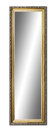 100 x 40cm, 40x 100cm Spiegel mit Rahmen, Badezimmerspiegel Antik, Alte Spiegel, Handgefertigte, Stabiler Rückwand, Rahmenleiste: 60 mm breit und 45 mm hoch, Rahmen Farbe: Gold