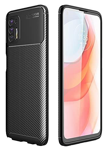 Kompatibel mit Motorola G Stylus 2021 Hülle (nicht für Moto G Stylus 2020) aus weichem TPU, dünn, robust, stoßdämpfend, stoßfest, Schutzhülle – modische Karbonfaser, Schwarz