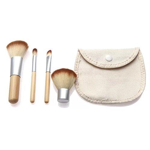 Make-up cosmetische borstels set professionele stichting make-up gereedschap bamboe handvat 4 stks/set betaalbare pak