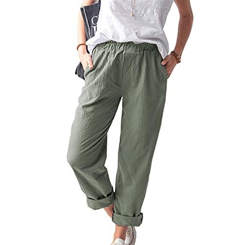 Pantalones Rectos de Cintura Alta elásticos Casuales de Color sólido de Verano para Mujer Mujer