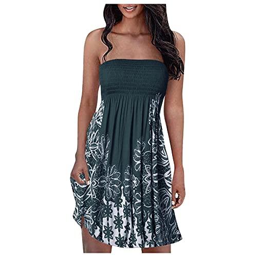 iQKA Women Knee Length Dress Elastic Ruched Tube Top Mini Dress Floral Print Sexy Strapless Summer Dresses Vestidos(AArmy Green,M