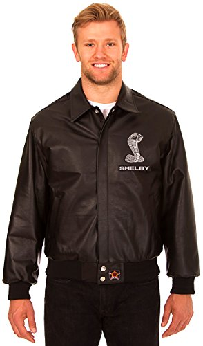 Carroll Shelby Men's Black Leather Bomber Jacket with Embroidered Applique Logos (Small)