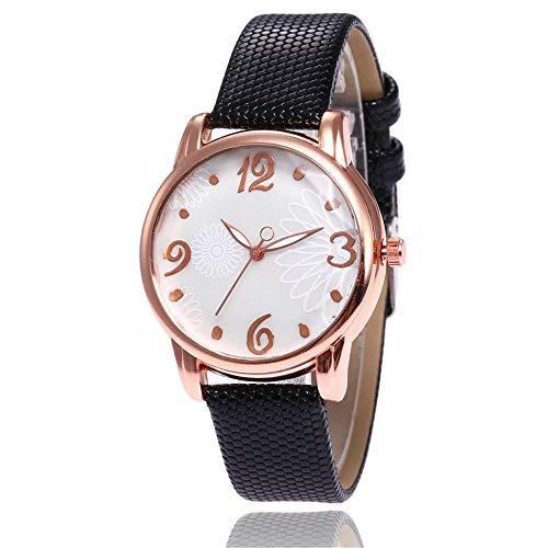 ZLMZLM Reloj De Cuarzo con Estampado Simple De Fondo Blanco para Mujer, Escala Digital, Reloj De Cuarzo con Caja De Oro Rosa-4 4 Quartz Watch