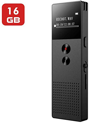 Digital Voice Recorder, Mibao 16GB USB Professional Dictaphone Voice Recorder with MP3 Player, Voice Activated Recorder with Rechargeable, Stereo HD Recording Voice Recorder for Lectures-Black