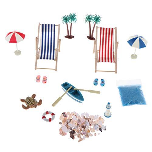 Amagogo Dollhouse 1:12 DIY Space Miniatures Juego de Sillas de Playa Juguetes Accesorios