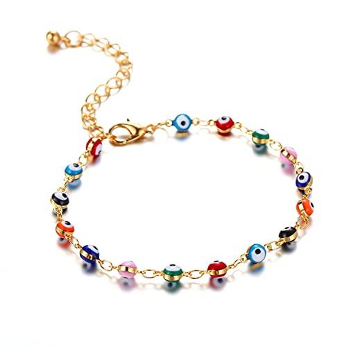 Strety Rainbow Planet Galaxy Anklet, Cristales Multicolores, Color Bohemio Retro o j o Pulsera de Tobillo Pulsera de pie para Mujer, Aniversario Cumpleaños Regalos de joyería Chic