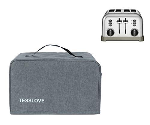 TESSLOVE - Funda para tostadora compatible con tostadora Cuisinart de 2 rebanadas, con 2 bolsillos que puede poner cuchillo de