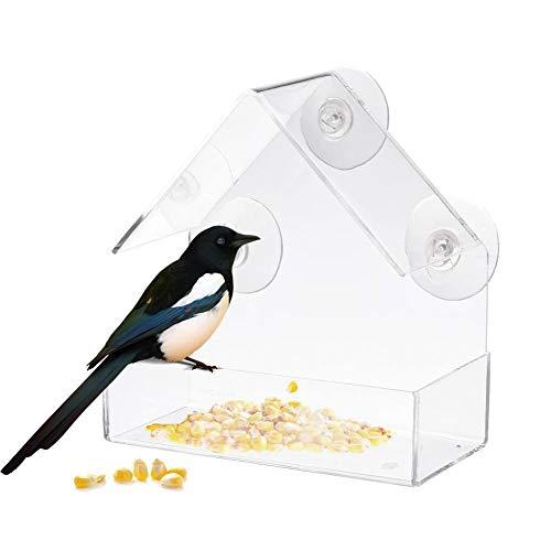 dianqin14 Klare Haus Fenster Vogelhäuschen Kreative Transparente Acryl Kunststoff Vogelhäuschen mit 3 Starken Saugnäpfen Outdoor Garten Fensterhalterung Füttern Tolle Geschenkidee, 15 x 7,3 x 15,3 cm