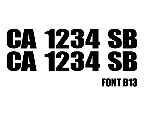 "3"" by 20"" Pair of Registration Number Decals 