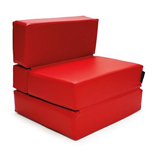 MiPuf - Sofá Puf Cama Plegable - 190x80x20 cm - Tejido Polipiel Alta Resistencia - Doble Costura - Interior Foam Alta Densidad - Rojo - 4 años de Garantía