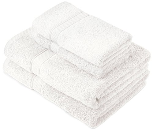 Pinzon by Amazon - Juego de toallas de algodón egipcio (2 toallas de baño y 2 toallas de manos), color blanco