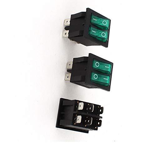 Aexit 3 Stücke SPST Dual Button Grüne Lampe Boot Wippschalter 6 Pins AC 250 V / 15A 125 V 20A (54c313e0dccbb5629126f0cad1c7cadc)