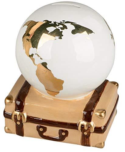 dekojohnson Sparschwein-Globus auf Koffer Sparbüchse Spardose Weltkugel Reisekasse Urlaubskasse Gold weiß braun 16x16cm Geburtstagsgeschenk