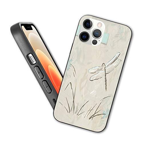 Compatible con iPhone 12 Series 2020 Romántico Vintage Sketch in Pastel Grass Cumpleaños Grunge Grass Botany Artwork para iPhone 12 Pro Max 6.7 pulgadas