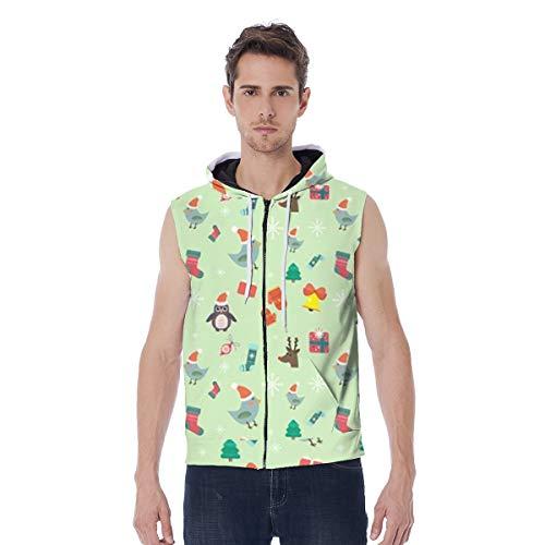 QWE CH0220 - Chaleco con capucha para hombre, diseño de animales y regalos de Navidad, con cremallera completa, con bolsillo, capucha, varios tamaños (color: colores variados, talla: S)