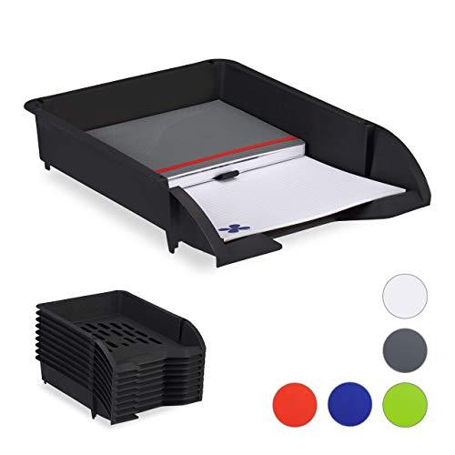 Relaxdays Ablagefächer stapelbar, 10er Set, DIN A4 Papier, Büro & Schreibtisch, Dokumentenablage Kunststoff, schwarz