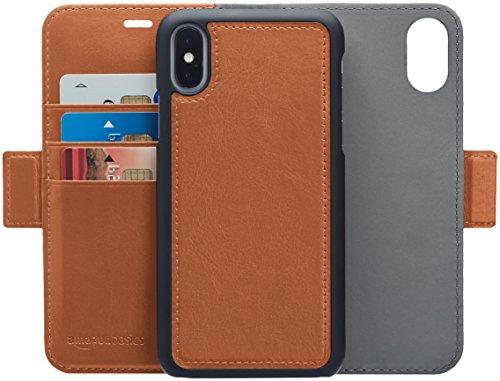 Amazon Basics – Funda desmontable tipo cartera, de piel de PU, 8, Marrón