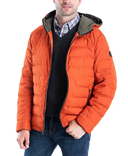Michael Kors Men's MMK410015 Down Packable Puffer Jacket - Orange Spice - XL